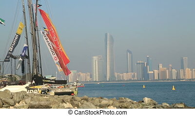 Abu Dhabi view with sailboat