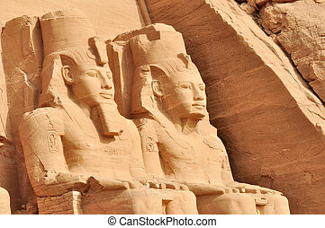 Great temple of Abu Simbel, in Egypt, Africa. It was constructed for the pharaoh Ramesses II who reigned for 67 years during the 13th century BC (19th Dynasty).