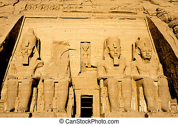 Abu Simbel temple in Egypt - Detail of Abu Simbel temple, in...