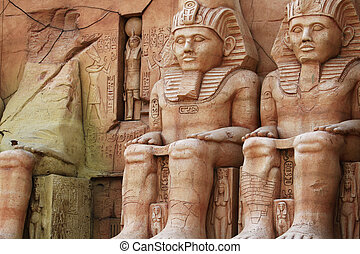 Abu Simbel Temple of King Ramses II, a masterpiece of pharaonic arts and buildings in Old Egypt  Miniature in Korea.