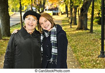 abuela, ambulante, nieta