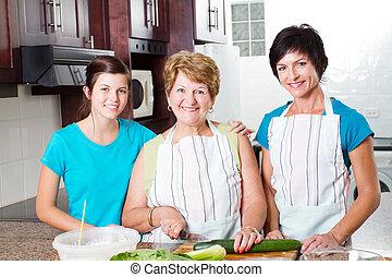 abuela, cocina, con, ella, hija, y, nieta