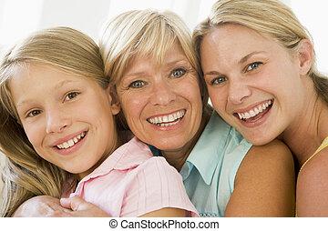 abuela, con, adulto, hija, y, nieta