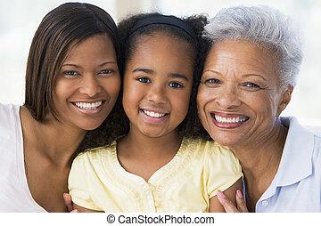 abuela, con, adulto, hija, y, nieto