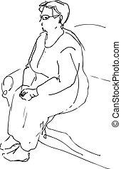 abuela, descansar, bosquejo, sentado