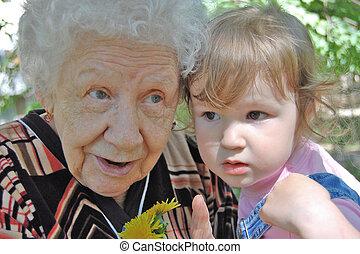 abuela, dice, un, cuento de hadas, a, el, hija grande