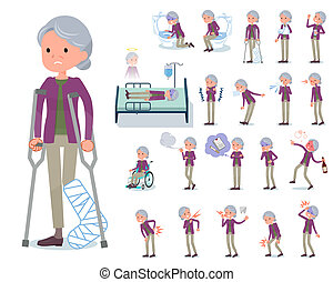 abuela, enfermedad, plano, púrpura, tipo, ropa