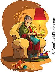 abuela, knittin, en, sillón