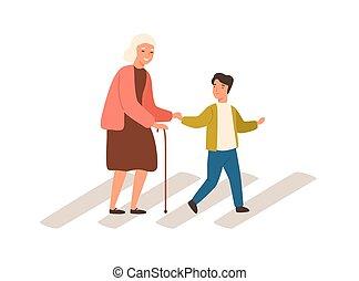 abuela, mujer, niño, juntos, alegre, calle, anciano, niño, ...