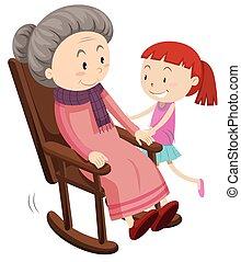 abuela, niña, silla, mecedor