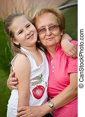 abuela, -, nieta, amor, retrato