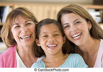 abuela, nieta, hija, adulto
