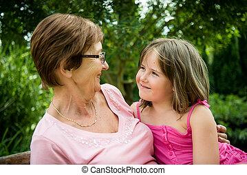 abuela, nieta, -, juntos