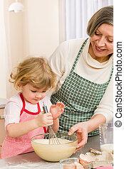 abuela, nieta, masa, batidor