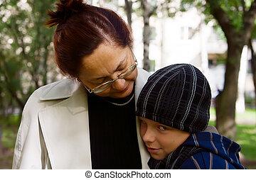 abuela, tímido, el suyo, niño
