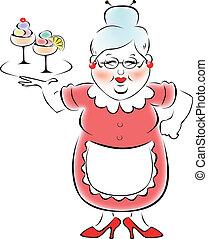 abuela, traído, mi, bandeja