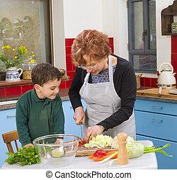 abuela, y, nieto, cocina