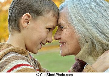 abuela, y, nieto