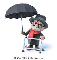 abuelito, tiene, paraguas, 3d