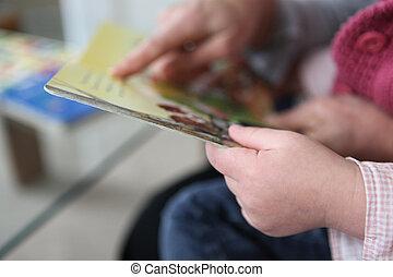 abuelo, lectura, nieta