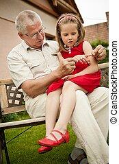 abuelo, retiro, -, nieto, feliz