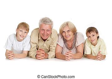 abuelos, atractivo, nietos, su