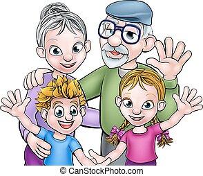 abuelos, caricatura, niños