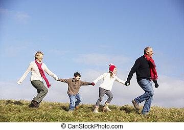 abuelos, corriente, parque, nietos