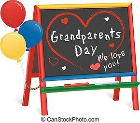 abuelos, día, caballete, pizarra