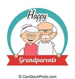 abuelos, día, feliz