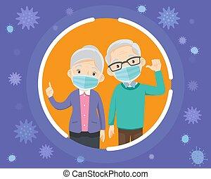 abuelos, llevando, mask., quirúrgico