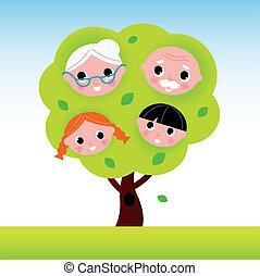 abuelos, niños, árbol, familia