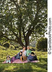 abuelos, nieto, picnic