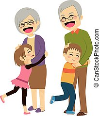 abuelos, nietos, abrazar