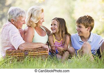 abuelos, picnic, teniendo, nietos