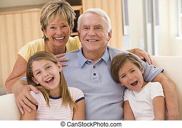 abuelos, posar, nietos