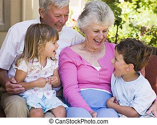 abuelos, reír, grandchildren.
