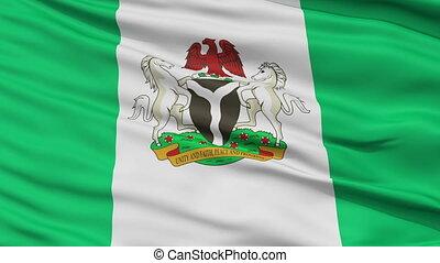 Abuja City Close Up Waving Flag