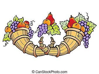 abundância, de, fruta, colheita