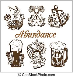 abundance food set - isolated vector illustration on white