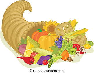 Abundance horn with various harvest fruits and vegetables