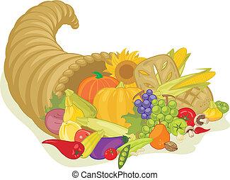 Abundance Horn - Abundance horn with various harvest fruits...
