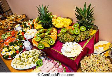 Abundance of food on the table