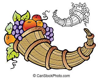 Abundance of fruit crop-symbol of fertility, prosperity and...