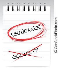 abundance vs scarcity illustration design over a white ...