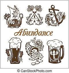 abundancia, alimento, conjunto