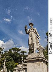 abundancia, diosa, plaza, roma, del, popolo, estatua