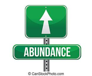 abundancia, muestra del camino, ilustración, diseño