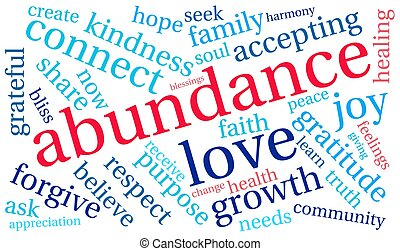 abundancia, nube, palabra