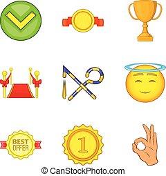 Abundant icons set, cartoon style - Abundant icons set....